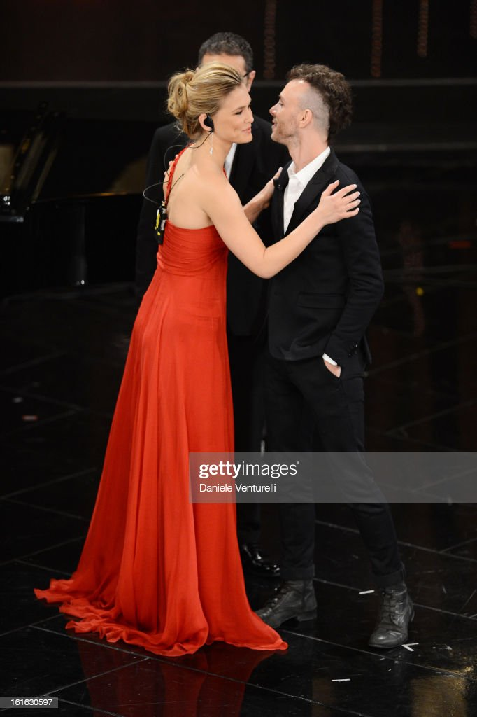 Bar Refaeli and Asaf Avidan attend the second night of the 63rd Sanremo Song Festival at the Ariston Theatre on February 13, 2013 in Sanremo, Italy.