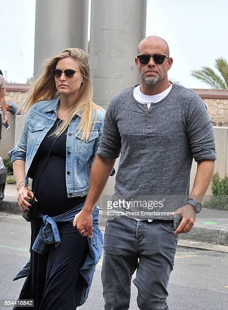 Bar Refaeli and husband Adi Ezra go for a walk on May 25 2016 in Barcelona Spain
