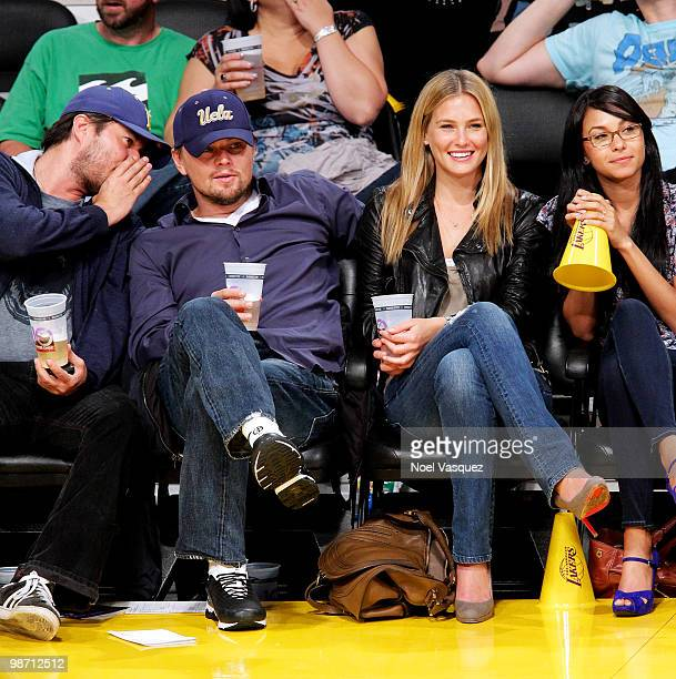 Bar Refaeli and Leonardo DiCaprio attend a game between the Oklahoma City Thunder and the Los Angeles Lakers at Staples Center on April 27 2010 in...