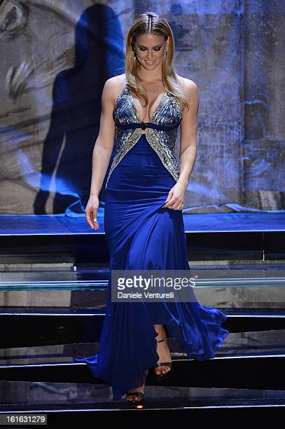 Bar Refaeli attend the second night of the 63rd Sanremo Song Festival at the Ariston Theatre on February 13 2013 in Sanremo Italy