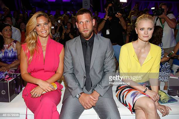 Bar Refaeli her brother Dor and Franziska Knuppe attend the Laurel show during the MercedesBenz Fashion Week Spring/Summer 2015 at Erika Hess...