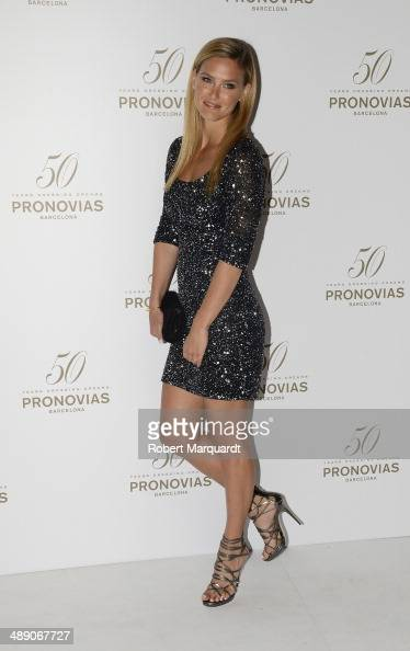 Bar Refaeli poses during a photocall for the Pronovia's 50th anniversary bridal fashion show during 'Barcelona Bridal Week 2014' on May 9 2014 in...