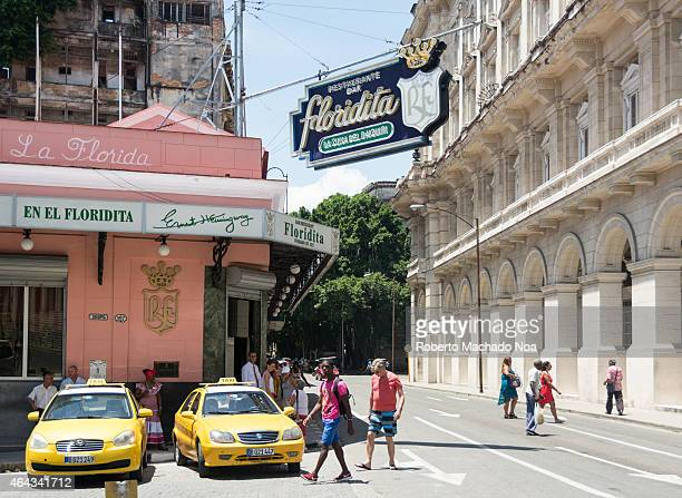 Bar Restaurant El Floridita a favorite place of Ernest Hemingway in Havana the house of the Daiquiri and a tourist landmark in Old Havana