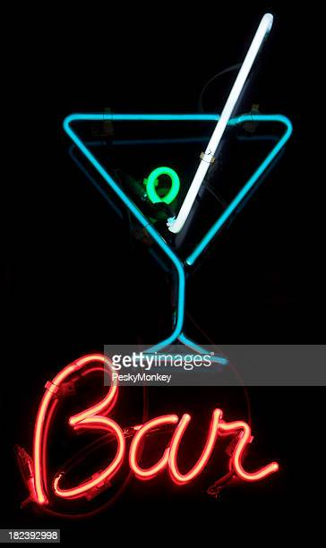 Bar Sign with Neon Martini Glass