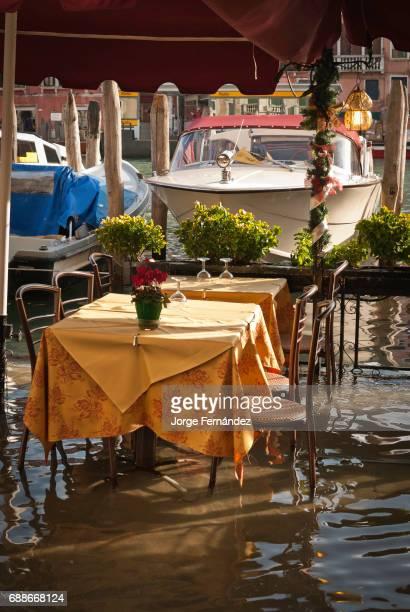 Bar terrace flooded by 'acqua alta'