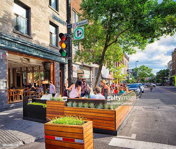 Bar terrasse on Mont-Royal avenue plateau Montreal