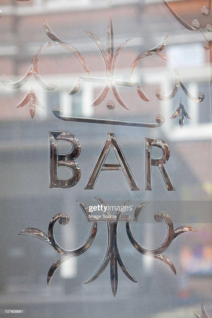 Bar window, London : Stock Photo