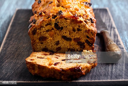 Bara brith traditional Welsh fruit teabread, : Stock Photo