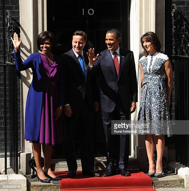 Barack and Michelle Obama meet David and Samantha Cameron at No 10 Downing Street during President Obama's State Visit