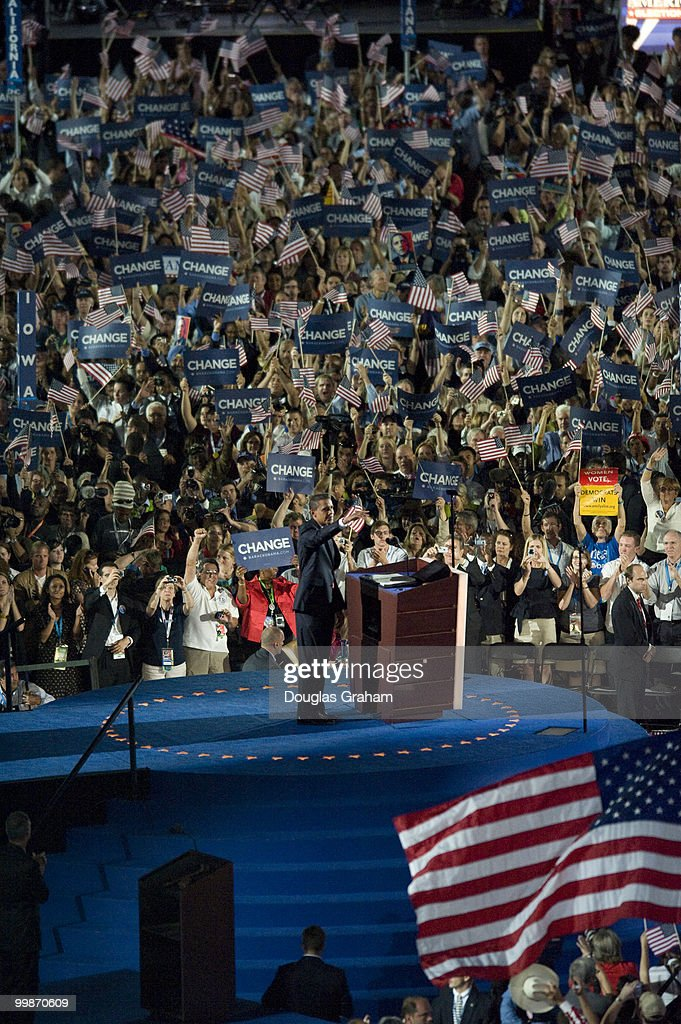 Barack Obama addresses the crowd during his acceptance of the Democratic presidential nomination at Invesco Field at Mile High at the 2008 Democratic...