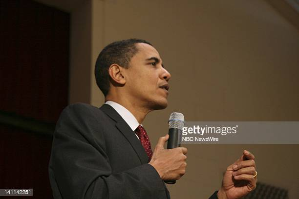 NBC NEWS Barack Obama Campaign Pictured Senator Barack Obama campaigns for the Democratic nomination at a town hall meeting in Racine Wisconsin on...
