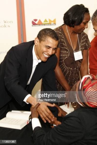 Barack Obama during US Senator Barack Obama Signs Copies of His Book 'The Audacity of Hope' at Urban Issues Breakfast Forum at California African...