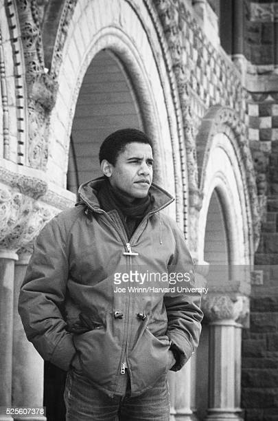 Barack Obama graduate of Harvard Law School '91 is photographed on campus after was named head of the Harvard Law Review in 1990
