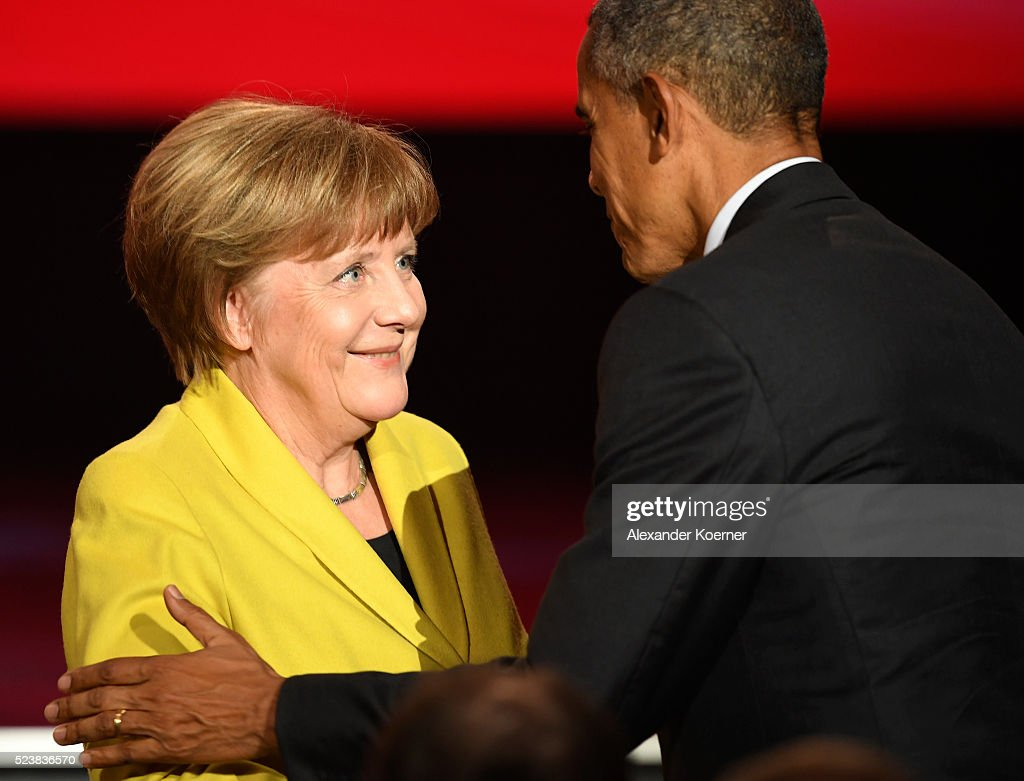 U.S. Barack Obama greets German Chancellor Angela Merkel at the opening evening of the Hannover Messe trade fair on April 24, 2016 in Hanover, Germany. Obama met with German Chancellor Angela Merkel in Hanover earlier in the day and is scheduled to tour exhibition halls at the fair tomorrow. Hannover Messe is the world's largest industrial trade fair.