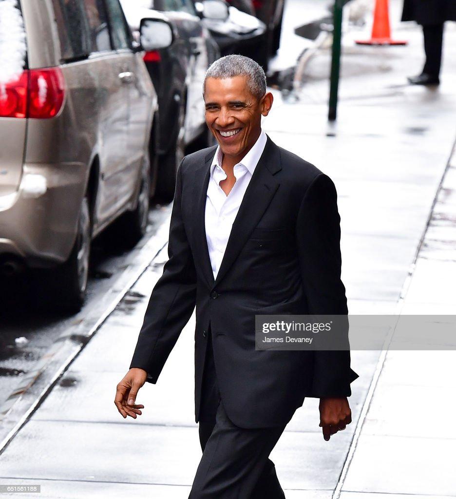 Barack Obama leaves Upland restaurant on March 10, 2017 in New York City.