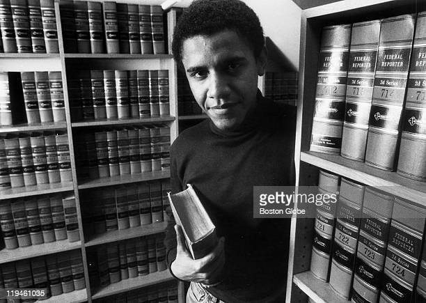 Barack Obama poses in the office of The Harvard Law Review on Monday Feb 5 after being named President of The Harvard Law Review