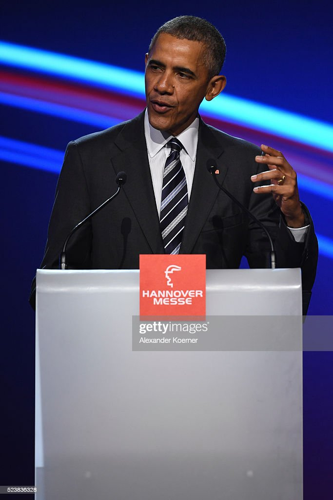 U.S. Barack Obama speaks at the opening evening of the Hannover Messe trade fair on April 24, 2016 in Hanover, Germany. Obama met with German Chancellor Angela Merkel in Hanover earlier in the day and is scheduled to tour exhibition halls at the fair tomorrow. Hannover Messe is the world's largest industrial trade fair.