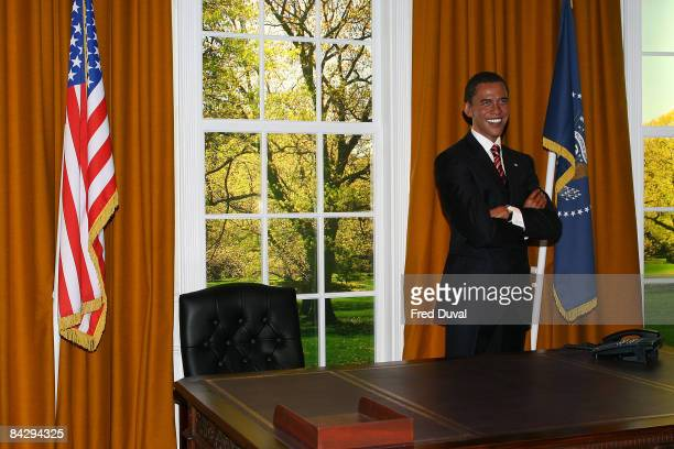 Barack Obama waxwork likeness featured in a recreation of the legendary Oval office at Madame Tussauds on January 15 2009 in London England