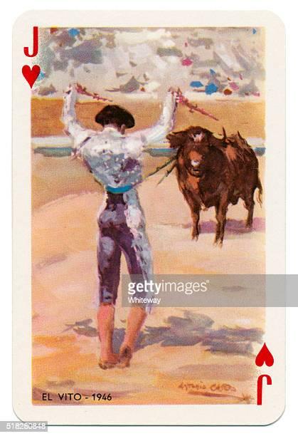 Baraja Taurina bullfighter Jack of Hearts 1965