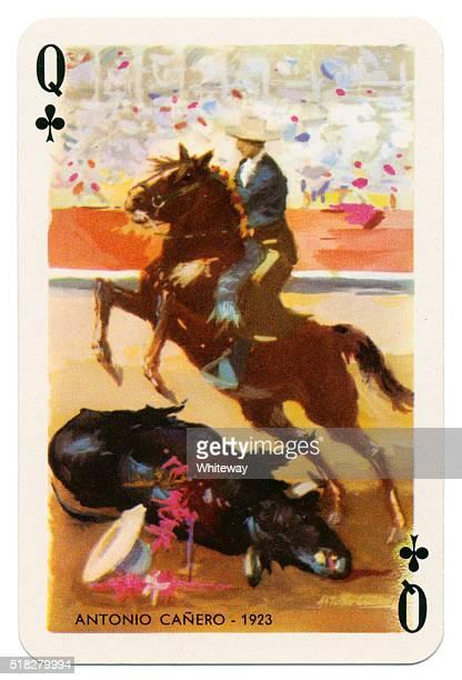 Baraja Taurina bullfighter Queen of Clubs 1965