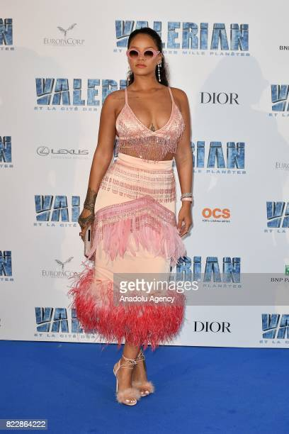 Barbadian singer Rihanna attends the premiere of 'Valerian and the City of a Thousand Planets' at City of Cinema in SaintDenis near Paris France on...