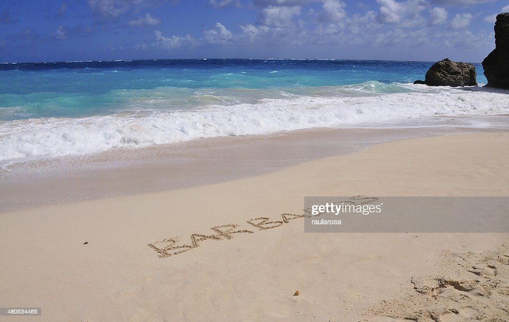 Barbados in writing by the beach : Stock Photo