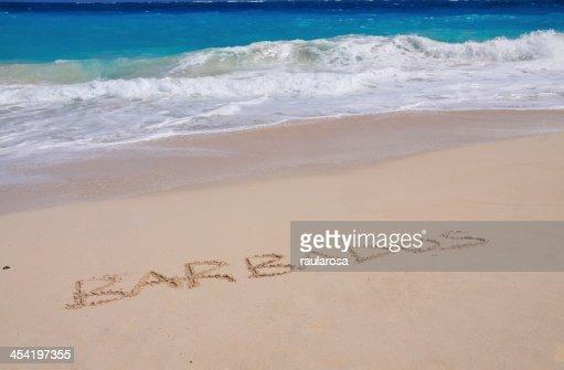 Barbados inscritos na Areia : Foto de stock