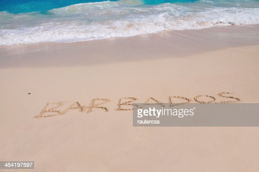 Barbados Inscribed in Sand : Stock Photo