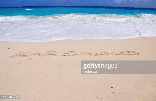 Barbados enunciados en la arena : Foto de stock