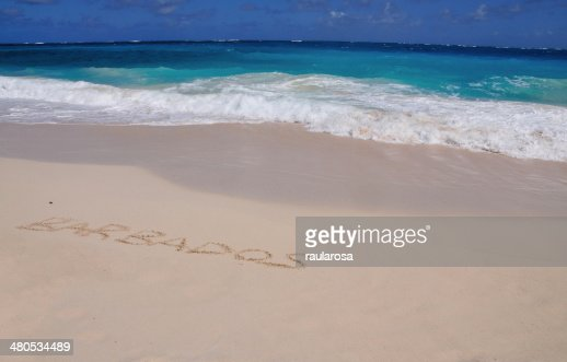 Barbados Inscribed in Sand : Bildbanksbilder