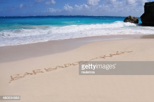 Barbados - Raul Written in Sand : Stock Photo