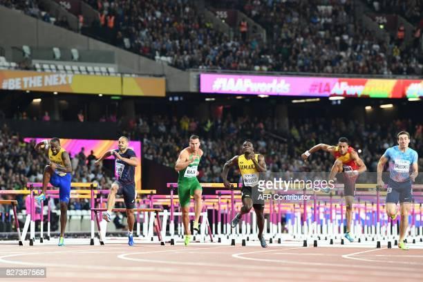 Barbados' Shane Brathwaite France's Garfield Darien Hungary's Balázs Baji Jamaica's Omar Mcleod Spain's Orlando Ortega and Authorised Neutral Athlete...
