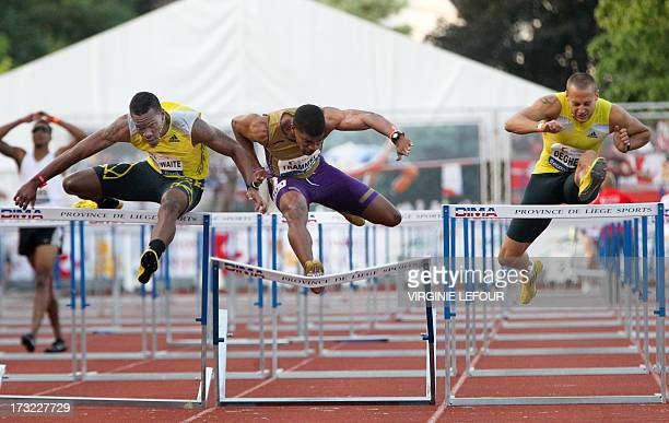 Barbados' Shane Brathwaite US Terrence Trammel and Belgium's Adrien Deghelt compete during the 12th edition of the 'Meeting International...