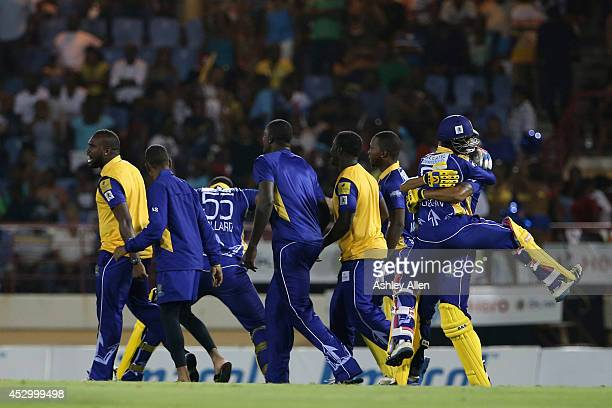 Barbados Tridents celebrate their victory during a match between St Lucia Zouks and Barbados Tridents as part of week 4 of the Limacol Caribbean...