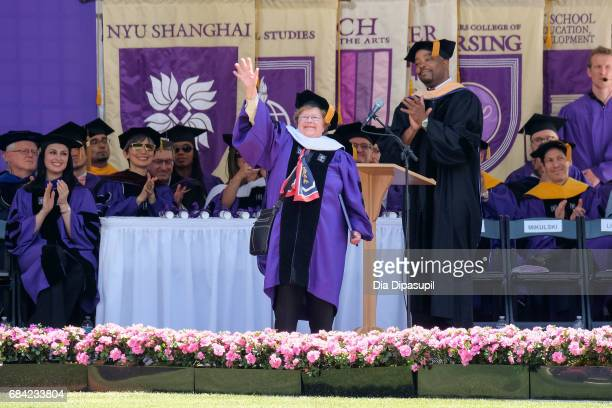 Barbara A Mikulski receives an honorary doctorate degree during the New York University 2017 Commencement at Yankee Stadium on May 17 2017 in the...