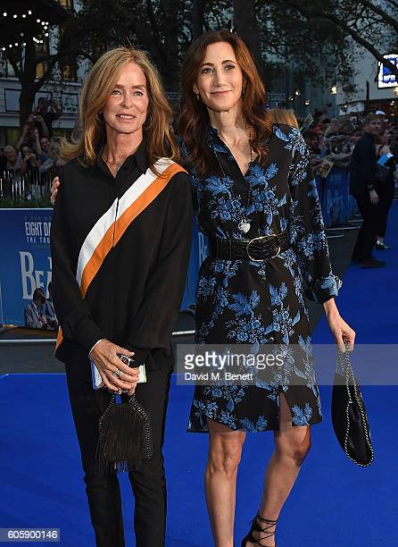 Barbara Bach and Nancy Shevell attend the World Premiere of 'The Beatles Eight Days A Week The Touring Years' at Odeon Leicester Square on September...