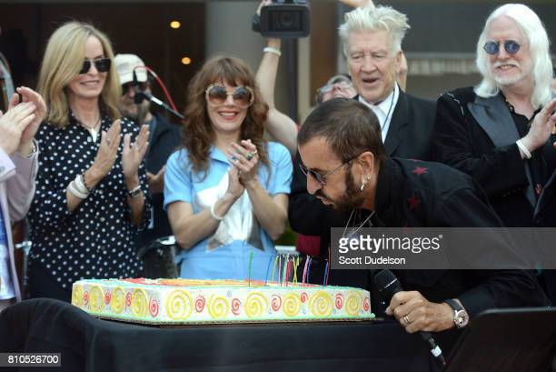 Barbara Bach Jenny Lewis David Lynch Ringo Starr and Edgar Winter celebrate Ringo's 77th birthday with friends and fans at the annual 'Peace Love'...