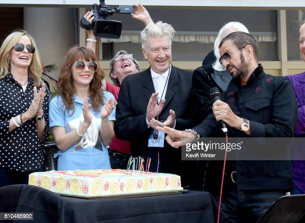Barbara Bach singer Jenny Lewis director David Lynch and musician Ringo Starr appear at the 'Peace Love' birthday celebration for Ringo Starr at...
