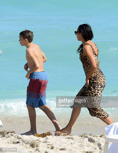 Barbara Becker and Elias Becker are seen on the beach in Miami Beach Florida on February 8 2014 in Miami Beach Florida