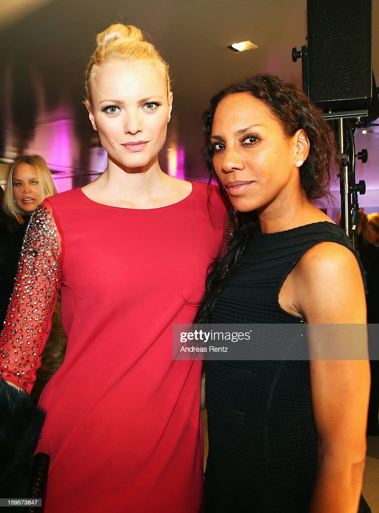 Barbara Becker (R) and Franziska Knuppe (L) attend Flair Magazine Party at Pariser Platz 4 on January 15, 2013 in Berlin, Germany.