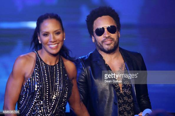 Barbara Becker and Lenny Kravitz are seen on stage at the GQ Men Of The Year Award 2014 at Komische Oper on November 6 2014 in Berlin Germany