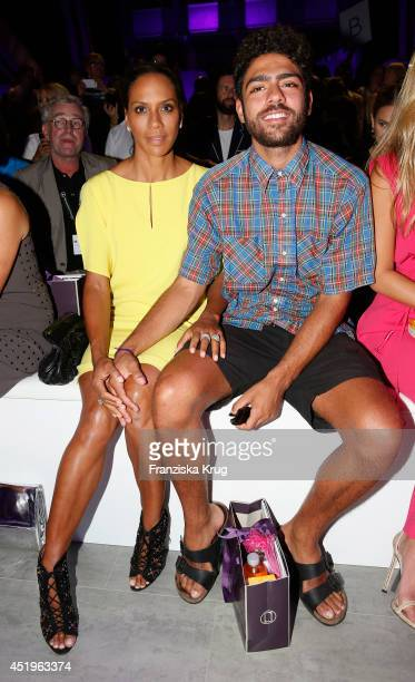 Barbara Becker and Noah Becker attend the Laurel show during the MercedesBenz Fashion Week Spring/Summer 2015 at Erika Hess Eisstadion on July 10...