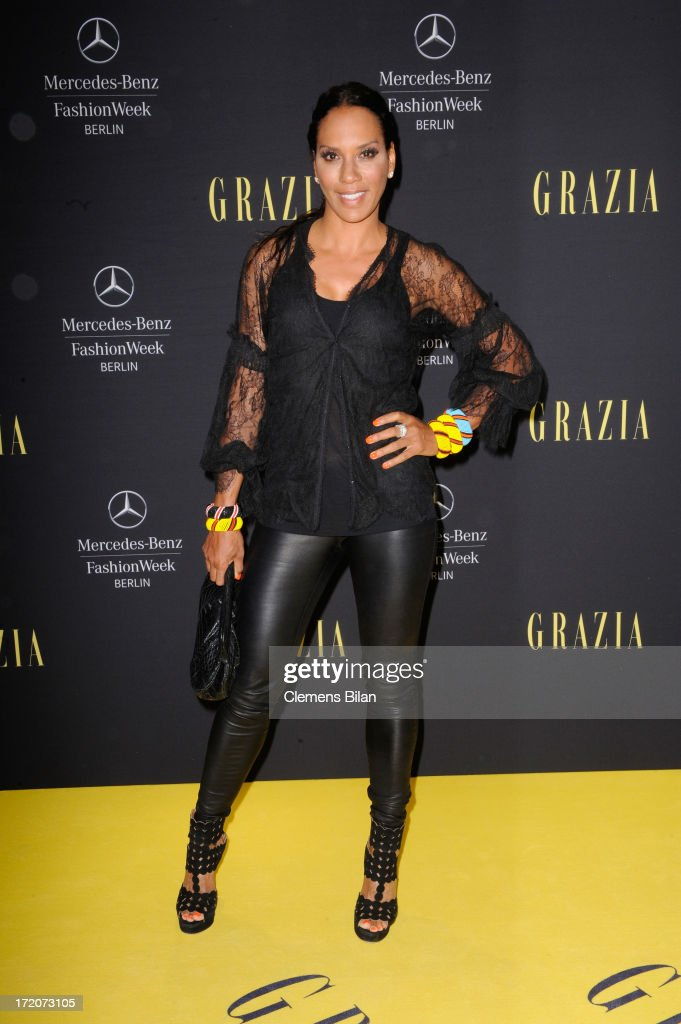 Barbara Becker attends the Mercedes-Benz Fashion Week Berlin Spring/Summer 2014 Preview Show by Grazia at the Brandenburg Gate on July 1, 2013 in Berlin, Germany.