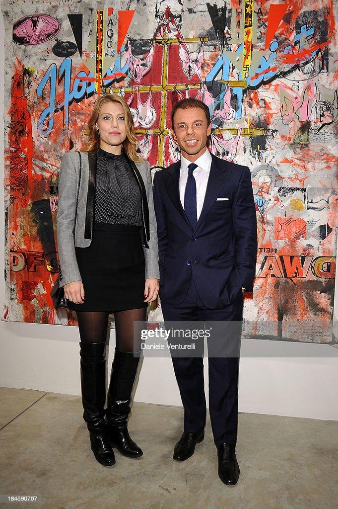 Barbara Berlusconi and Nicolo Cardi attends Cardi Black Box Gallery Present Nicolas Pol hosted by Nicolo Cardi And Vladimir Restoin Roitfeld at Cardi Black Box on October 14, 2013 in Milan, Italy.