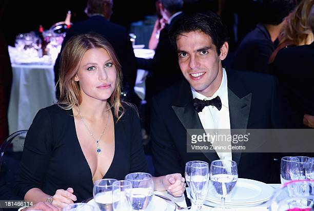 Barbara Berlusconi and Ricardo Kaka attend the amfAR Milano 2013 Gala Dinner as part of Milan Fashion Week Womenswear Spring/Summer 2014 at La...