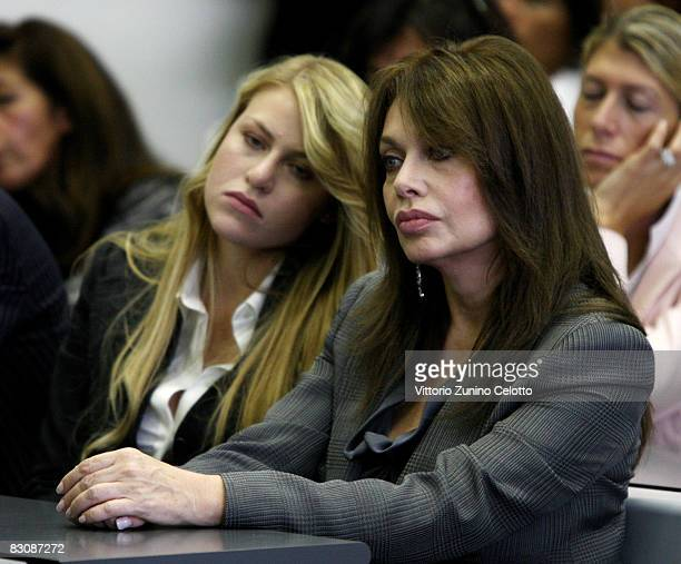 Barbara Berlusconi and Veronica Lario Berlusconi attend a meeting on ethics at the Bocconi University on October 2 2008 in Milan Italy The theme of...