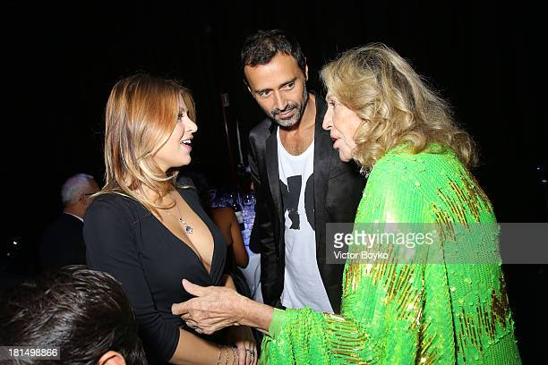 Barbara Berlusconi Fabio Novembre and Marta Marzotto attend the amfAR Milano 2013 Gala Dinner as part of Milan Fashion Week Womenswear Spring/Summer...