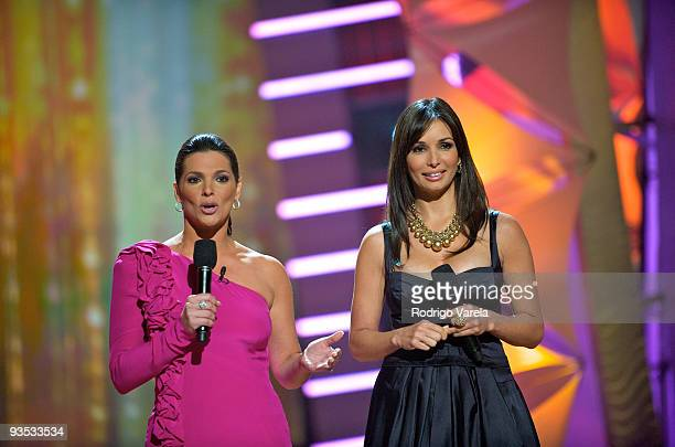 Barbara Bermudo and Giselle Blondet speak onstage at the Univision Premio Lo Nuestro a la Musica Latina Nominations at Greenwich Studios on December...