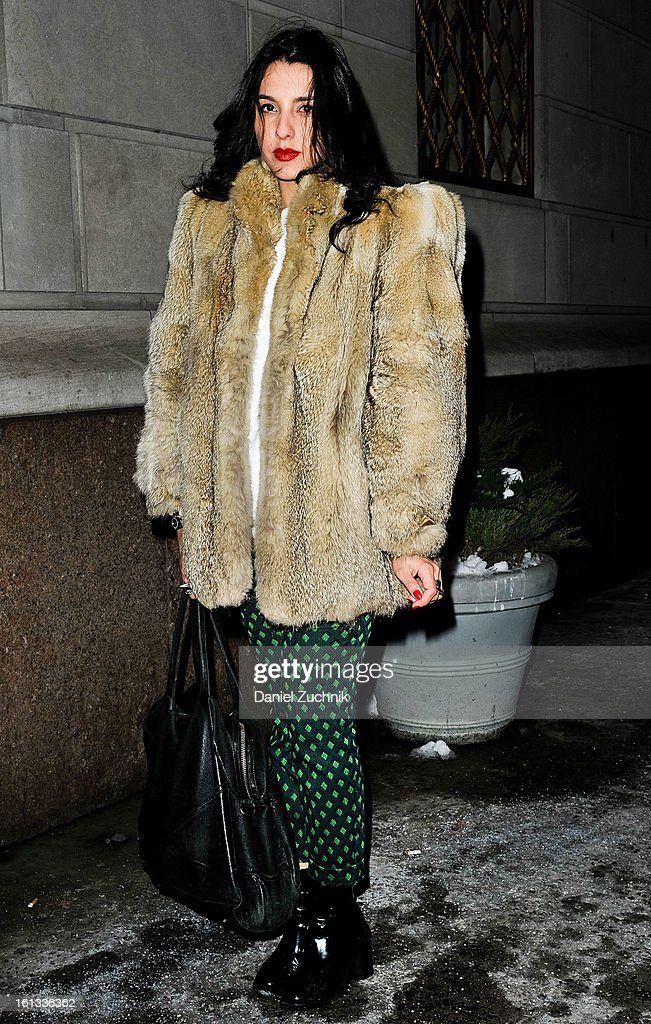 Barbara Bertisch seen outside the Moncler presentation on February 9, 2013 in New York City.