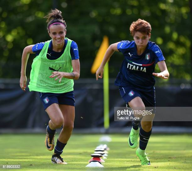 Barbara Bonansea and Manuela Giugliano of Italy women's national team take part in a training session during the UEFA Women's EURO 2017 at De...